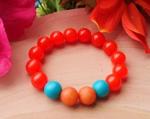 Bright Orange and Teal Children's Bead Bracelet//Children's Jewelry//Orange Children's Bracelet