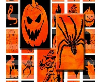 Halloween Batik Black & Orange Digital Images Collage Sheet 1x2 inch Rectangles Domino Commercial INSTANT Download RD15