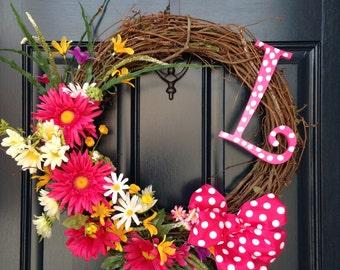 Polka Dot Monogram Wreath