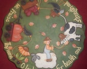 Pattern for a Lazy Susan, Fall, Sheep, Scarecrow, Crow, Green, Pumpkin, Chicken, Sunflower, Wagon, OFG, FAAP, leaves