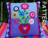 CROCHET PILLOW PATTERN, Mothers day gift, Applique Cushion Pattern, Patchwork Pillow pattern, Crochet applique pattern, pdf patterns for mum
