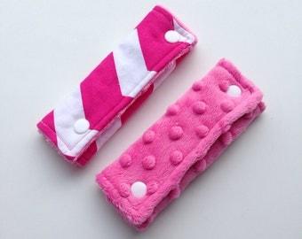 Chevron Reversible Car Seat Strap Covers - Pink Chevron Cotton and Minky Dot - Pink Minky