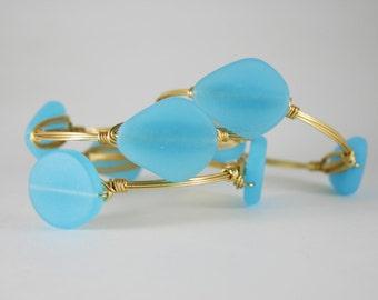 Sky Blue Sea Glass Gold Wire Wrapped Bangle