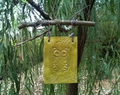 Owl, Hand Stamped, Ceramic Ornament on Oak