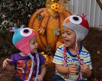 Homemade Custom Crochet Owl Hats