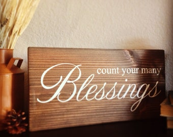 Simply Handcrafted - Hand Painted Wooden Sign - Blessings