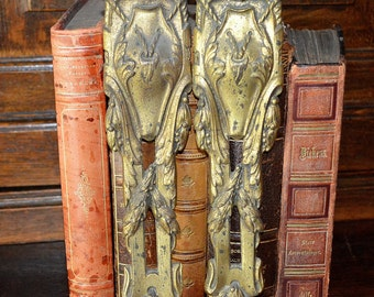 Antique Pair French Ormolu Bronze Pediments Furniture Mount Hardware Rope & Vines