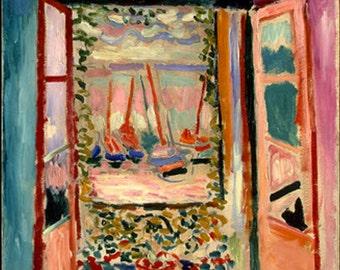 "11x14""SATIN  Canvas Print, Henri Matisse, Open Window, Collioure, Boats, Flowers, Summer"