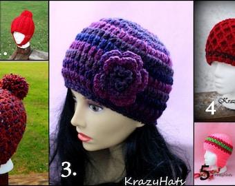 Crochet hats.Size:Tenn/Adult