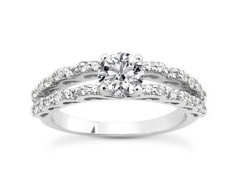 0.90 Cttw G VS Enhanced Round Diamond Engagement Ring in 14K White Gold