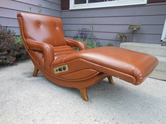 Vintage danish modern contour lounge recliner chair mid for Burnt orange chaise lounge