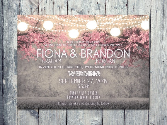 Set of 100 - Cheerful Night Blush Pink Festive Lights Wedding Invitation and Reply Card Set - Wedding Stationery - ID402