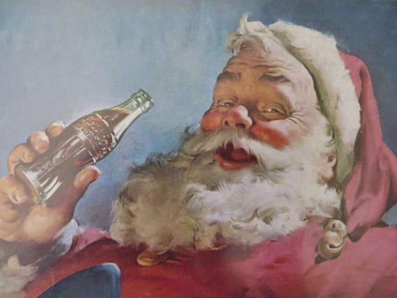 Vintage Coca Cola Holiday Advertisement Collection / Santa Claus Holiday Designs / Home Decor / Ready To Frame / Paper Ephemera / Set of 4