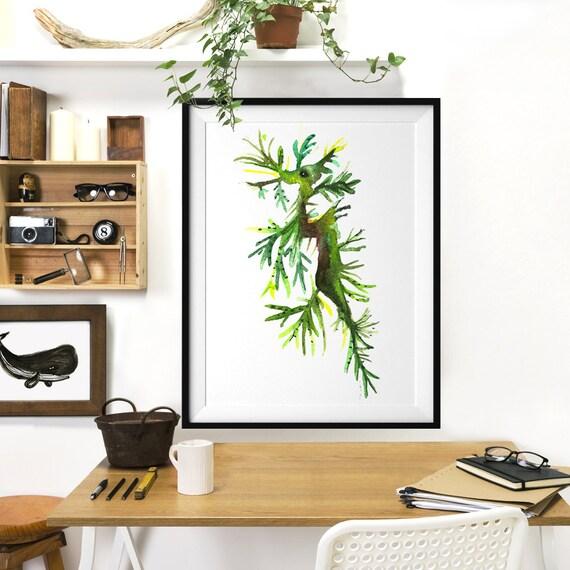 Leafy sea dragon poster watercolor art bathroom decor for Sea green bathroom accessories
