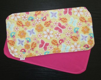 Flannel 3-Ply SUPER Absorbent Burp Cloths- Hot Pink Butterflies and Flowers, Set of 2