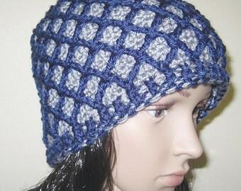 Crochet Blue Cap, Lattice Beanie, Bucket Hat, Fashion Accessory, Grey Heather, Navy Blue