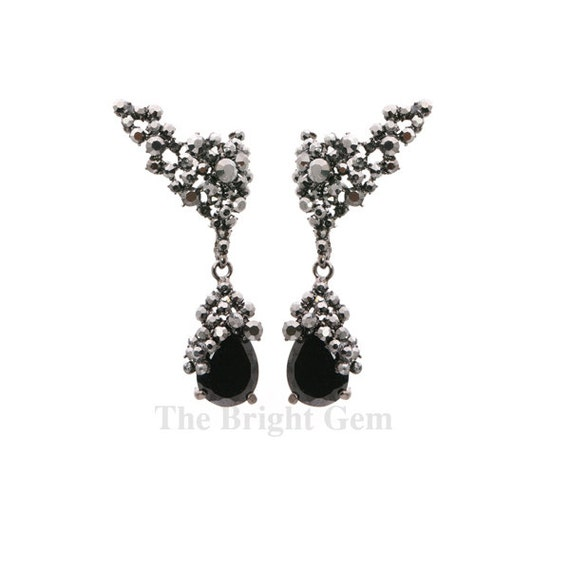 items similar to ear cuff and black teardrop earrings