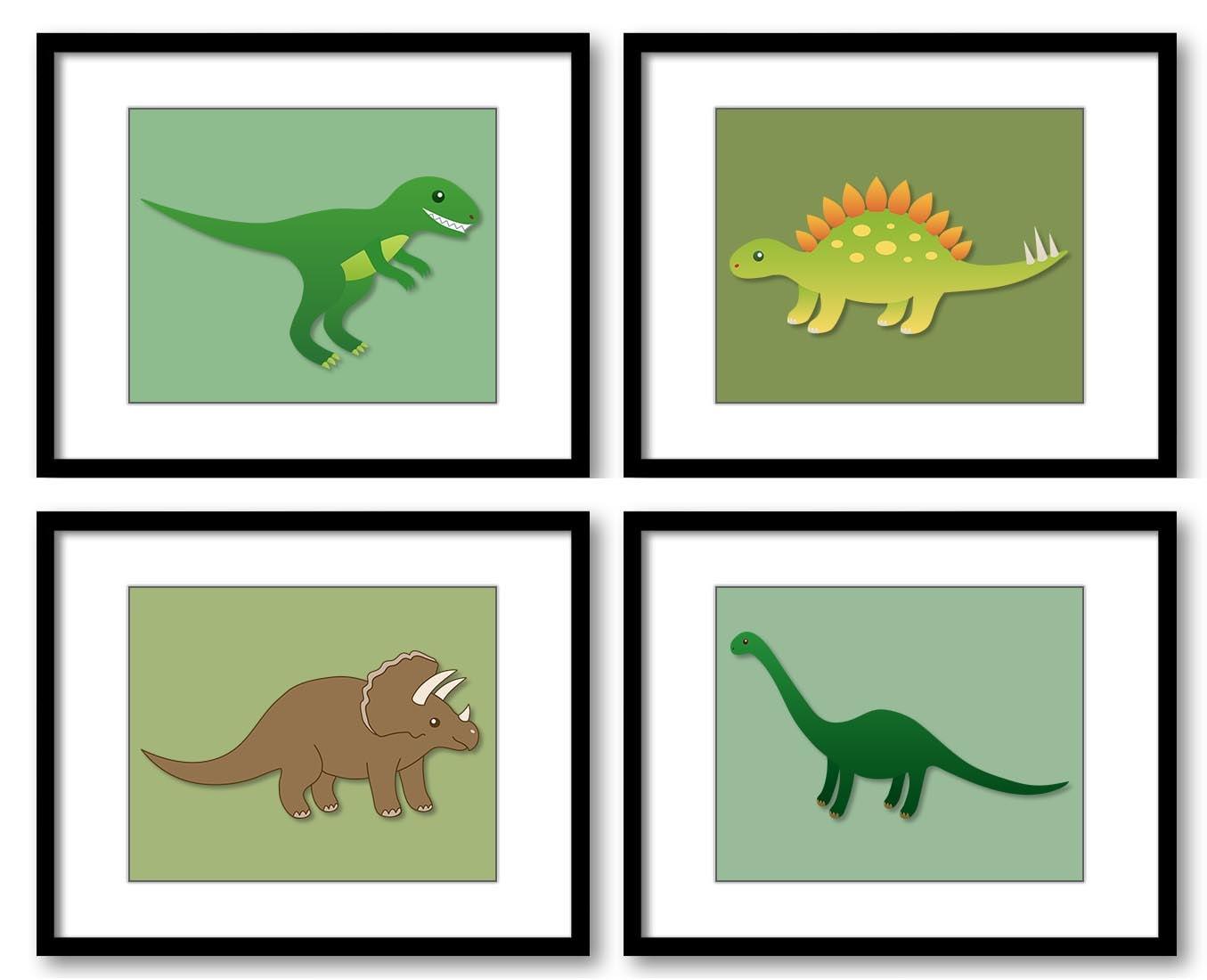 Green Dinosaurs and Brown Dinosaur Child Kids Children Art Prints Set of 4 Boy Art Nursery Art Nurse