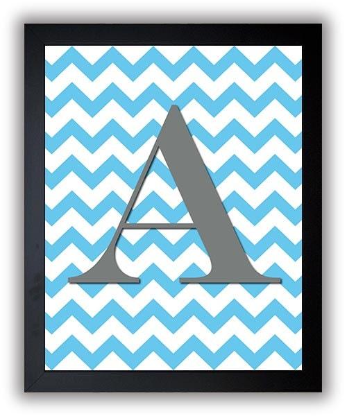 Letter Monogram Print Nursery Art Nursery Baby Art Chevron Blue Grey Gray Decor Child Baby Art Print