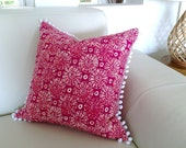 Pom Pom Cushions Fuchsia Pink Pom Pom Cushions Beach House Style Turquoise Aqua Decorative Scatter Cushion