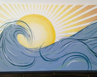 California Wave at Sunset! 24x48 Painting