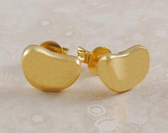Handmade Polished Gold Curved Stud Earrings