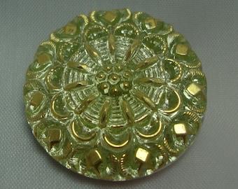 Czech Glass Button 27mm - hand painted - lime green, gold, uranium/vaseline glass (B27066)