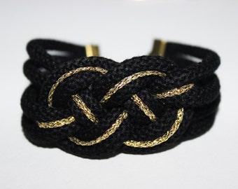 Beige-black-white-gold-silver knot Cuff Bracelet
