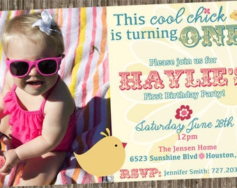 Cool Chick - First Birthday invitation (other colors by request)
