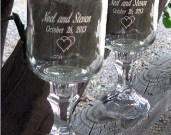 Country Wedding Redneck  Wine Glasses -   2 Engraved  - 16 OZ - Personalized - aka Hillbilly Wine Glasses - Wedding -Anniversary - Mason Jar