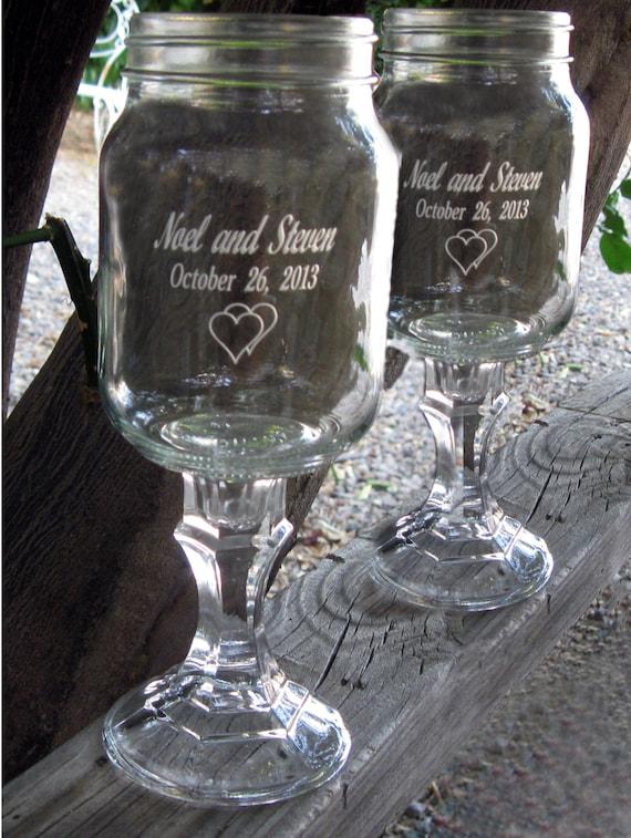 Redneck wine glasses 2 engraved 16 oz by noknoks on etsy - Stemmed mason jars ...