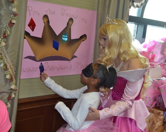 Custom Princess Party Game Pin the Jewel on the Tiara