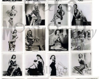 Black and White Glamour Girls Number 2 Digital Download Collage Sheet
