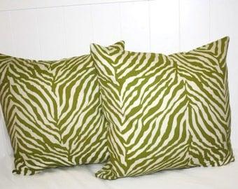 Decorative16x16 Green Zebra Print Pillow Cover Throw Pillow