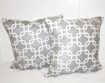 Decorative16x16 Gray Lattice Pillow Cover Set