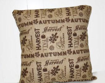 Burlap Fall Thanksgiving Harvest Pillow Cover 12x16