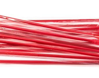 """8 """" Red Spoon Straws wrapped - 100ct"""