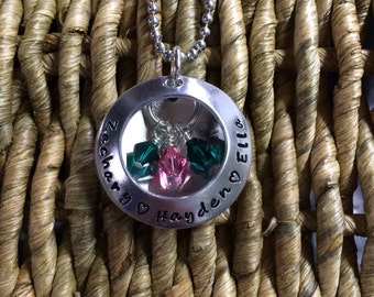 Swarovski Crystal Birthstone Metal Handstamped Domed Washer and Disc Mothers Necklace Mom Name Necklace 3D locket