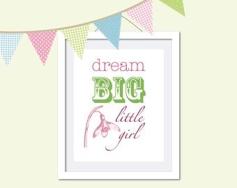 Nursery art, Digital download, Girls room art, Quotation print - Dream big pink and green