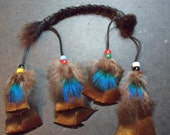 OOAK Powerful Animal Totem - Buffalo hair braid adorned with Czech glass crow beads and turkey and peacock feathers