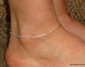 Silver Chakra anklet, Chakra swarovski crystal ankle bracelet, Silver chakra bracelet, Ankle bracelet UK, Meditation jewelry,Gifts