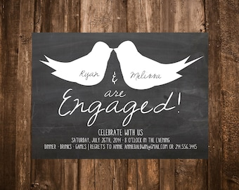 Chalkboard Love Birds Engagment Party Invitation; Printable or set of 10