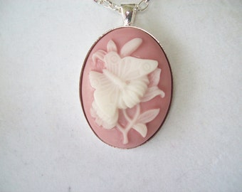 Pink and White Flower with Butterfly Cameo Pendant