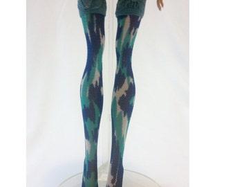 Dolls stockings/socks for Monster high doll - Blue Camouflage No.808