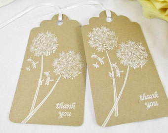 Kraft Thank You Tags/Brown Tags/Kraft Wedding Favor Tag/Favor Bag Gift Tag/Bridal Shower Tag/Destination Wedding Favor Tags/Dandelion Tags