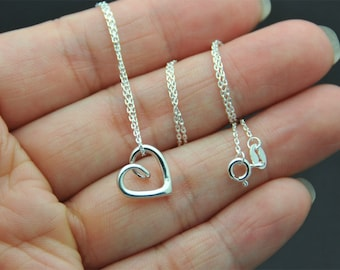 Sterling silver Love charm Necklace, open heart charm necklace