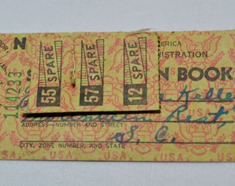 Spare ration stamps with name and address.