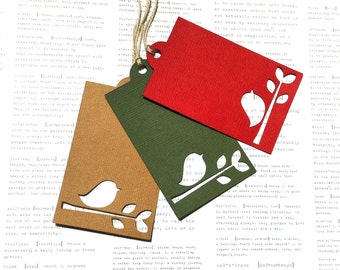 Christmas Bird gift tags. Original silhouette design, large hanging tags. Textured cardstock in natural, red or green with cotton twine.