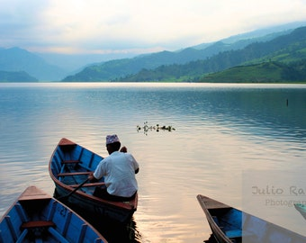 Photo print: Sailing away in Nepal. fine art photography. Photography. Living room. Peace.