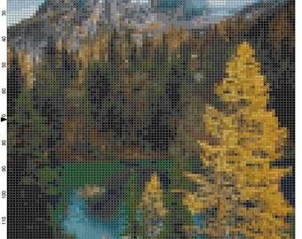Cross Stitch Pattern Cascade Mountains Washington PDF Instant Download Digital File Nature Scenery Cross Stitch Chart